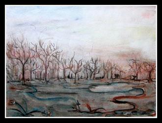 Le Mont Rigi, aquarelle encre de Chine . D.Petit
