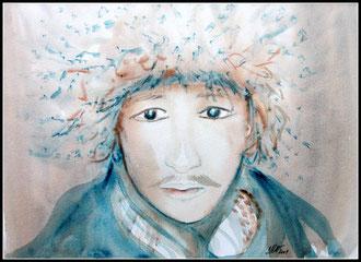 Le Mongol, aquarelle. D.Petit