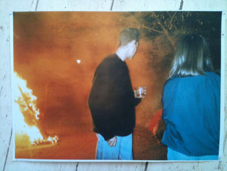 Peter R W 21st birthday 1991 Pillar House Harwell Young Man Against Flames, Photo Greetah.