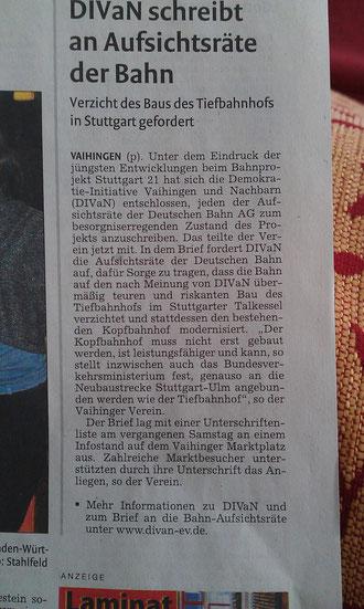 Artikel in der Váihinger Kreiszeitung vom 09.09.2013