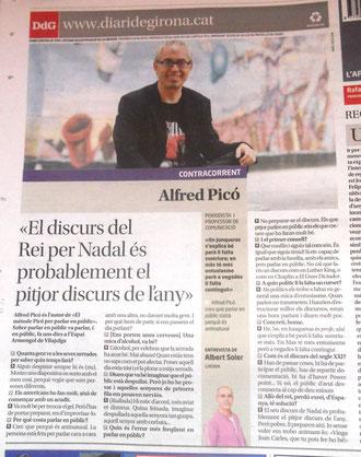 Contraportada del Diari de Girona dedicada a l'Alfred