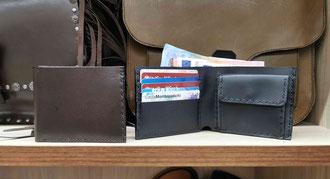portafoglio in pelle fatto a mano