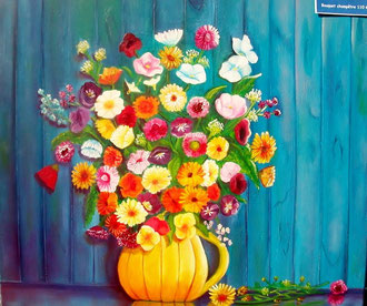 Une multitude de petites fleurs des champs, un feu d'artifice de couleurs vives, pour ce bouquet champêtre, d'une belle délicatesse