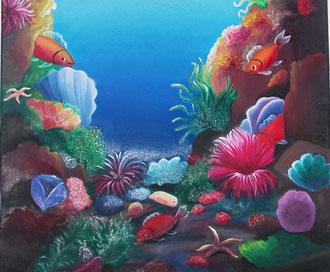 tableau aquarium coloré idéal pour chambre d'enfants
