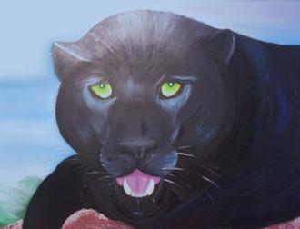 tableau panthère noire peinture à l'huile