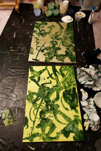 l'atelier, avec les deux petites toiles