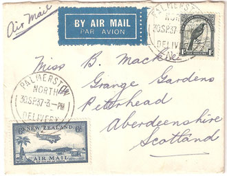 Airmail cover to Scotland, 1/6 rate. 30th September 1937.