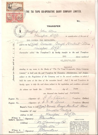 3/- and  6d 1940 Centential on Dairy Co. share transfer document punched with date. 11/6/46.