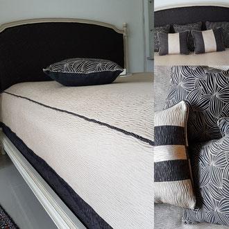 Couvre lit et coussins design noir et blanc confectioné par tapissier décorateur à Cestas, Pessac, Gradignan, Canéjan