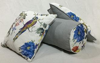 coussins déco Pirroquet fabriqué par tapissier décorateur à Cestas en Gironde