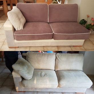 Réfection de coussins de canapé par Ambiance tapissier - tapissier décorateur à Cestas, Pessac et Gradignan. Photos avant-aprés