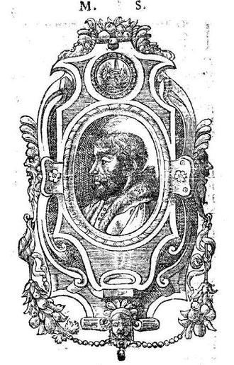"""Portrait de Maurice Scève, édition princeps de """"Délie"""", Lyon, Sabon, 1544 (source : gallica)."""