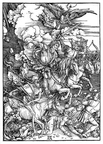 """Albrecht Dürer, """"La Révélation de Saint Jean : Les Quatre Cavaliers de l'Apocalypse"""", 1497-1498, conservé à la Staatliche Kunsthalle de Karlsruhe, (source : Wikipedia)"""
