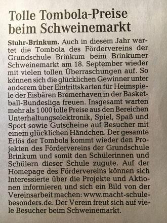 """Quelle: Weser-Kurier """"Mein Verein"""" vom 11.09.2016"""