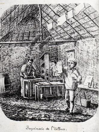 D15 - Album de l'Ile des Pins (6 juillet 1878) : l'atelier d'imprimerie des déportés