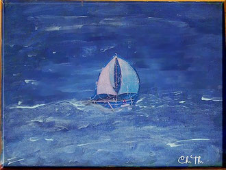 Wellen, Segelschiff, Acryl, Christel Thoenes