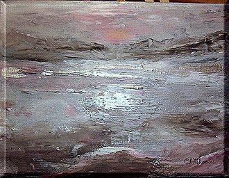 grau, weilss, Meer, Berge,selbst gemalt, Christel Thoenes