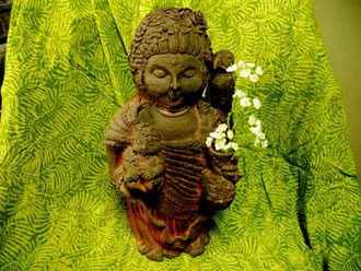 母子 彫塑 立花雪YukiTachibana 炎と楽園のアート 楽々土像