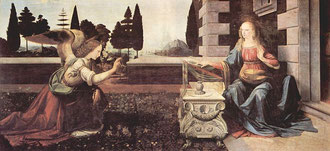 1475-1478年頃 板/油彩+テンペラ 98×217cm                                   <受胎告知>レオナルド・ダ・ヴィンチ作