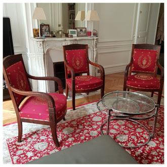Réfection trois fauteuils empire chez un particulier Paris 75016