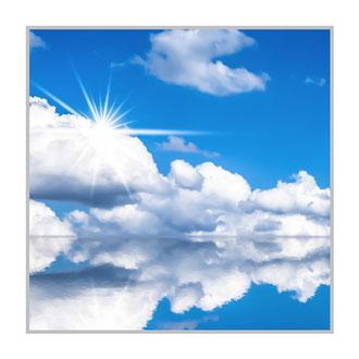 """Bildheizung""""Wolkenlandschaft"""", 300 Watt, 60x60cm, hier mit Silberrahmen matt, zum Vergrößern anklicken!"""