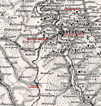 Souilly - In dem Ort befand sich ein Gefangenenlager, das so genannte Kronprinzenlager. Deutsche, die sich vor Verdun ergeben hatten oder in Gefangenschaft gerieten, mussten den langen Weg (etwa 20km) vom Schlachtfeld hierhin zu Fuß zurücklegen.