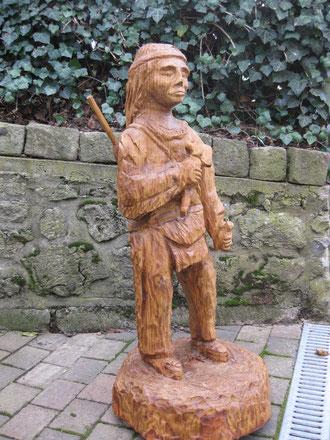 """Gartenwächter """"Indianer"""" 100cm Eiche"""