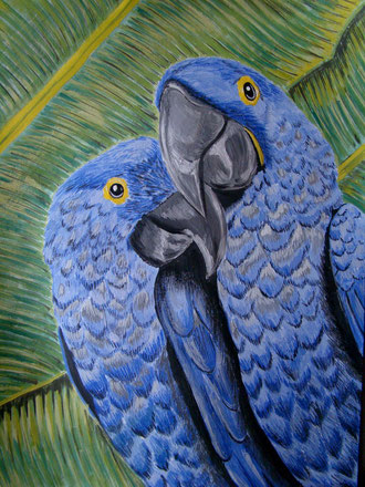 Couple of blue macaws (2010) ,watercolor