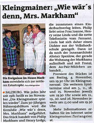 Die Kinderbuchautorin Mrs. Smythe bringt das Leben im Hause der Markhams ziemlich durcheinander (Stadtblatt, 2.11.2011)