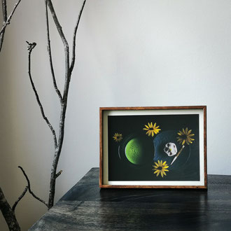 Kunstdruck einer gerahmten Fotografie zeigt ein Teezeremonie-Set mit einer Schale mit Matcha und Okashi
