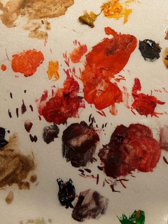 La palette des différents rouges utilisés