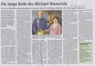 Volksstimme Schönebeck vom 29. Januar 2013 (Ulrich Meinhard)