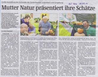 Volksstimme Schönebeck vom 19. September 2011