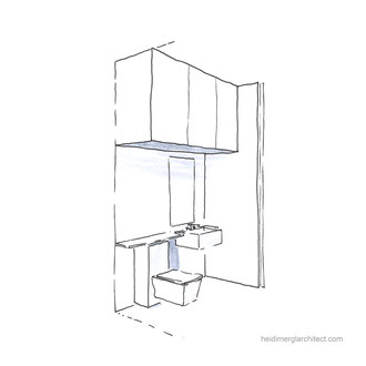 A Minimalist Small Bathroom Design With Clever Storage Solutions by Heidi Mergl Architect