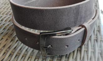 Bild:Ledergürtel grau mit Naht Büffelleder gürtelschnalle silber satiniert - Guertel