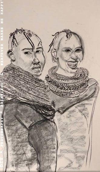 MASAAI WOMEN  Kohlezeichnung,70x100cm  84,00€ zzgl. Versandkosten 6,90€ Versand innerhalb 3 Werktagen  Skizze mit Kohle70x100cmohne Rahmen.