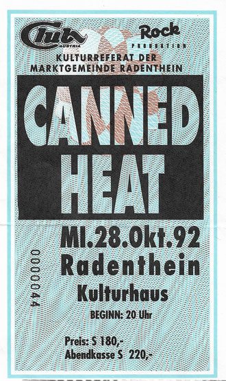 Canned Heat, Woodstock, Radenthein, Ticket