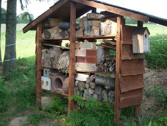 So sieht das Insektenhotel  zur Zeit aus