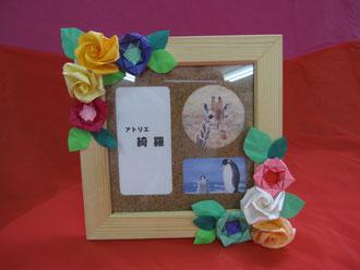 折り紙で作るフラワーデコの写真立て