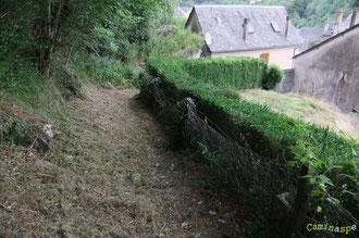 N°3/ Depuis le Village de Sarrance (Cloître) le chemin est parfaitement fauché, le long d'une haie de buis taillée au carré
