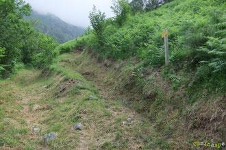 N°42/ A la jonction du chemin issu du Col de Rédo et descendant sur le village d'Etsaut en rive gauche. Le fauchage est un peu moins raz que côté Larrouy ; le pied du panneau est un peu mieux dégagé ...