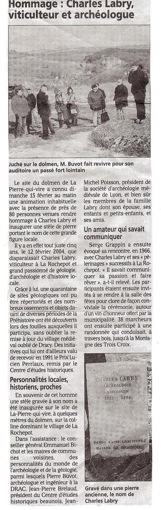 Article hommage Charles Labry: le bien public février 2009