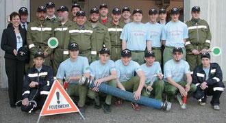 Gruppenfoto bei der Kappenübergabe durch die Raika Kasten
