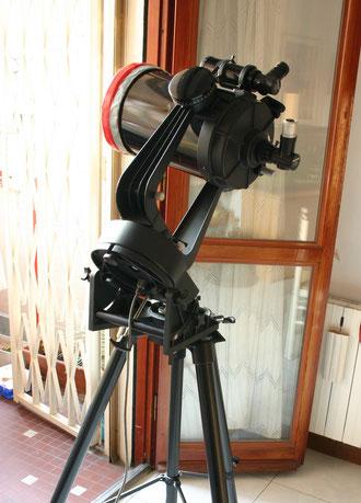 Celestron 8 /200mm f 10 focale 2000mm (visibile il filtro solare luce B/N autocostruito)
