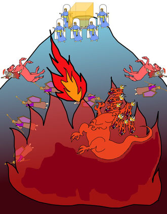 Je ferai pleuvoir le feu et le soufre sur lui, sur ses troupes et sur les nombreux peuples qui l'accompagneront. « Mais un feu [venu de Dieu] descendit du ciel et les dévora. » Satan et les rebelles subiront une destruction totale et définitive.