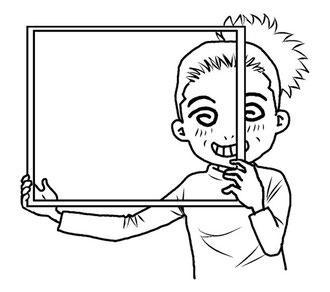 マンガスクール・はまのマンガ倶楽部/フレーム(枠)から覗くというイメージを持つ