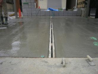 駐車スペースの土間コンクリート打設工事