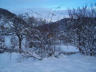 vue sur la vallée depuis la terrasse en hiver