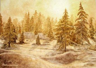 Ölmalerei auf Malpappe, mit PP. 40 x 50