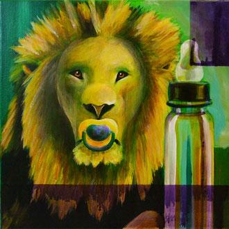 the Lion sleeps tonight, 30 cm x 30 cm